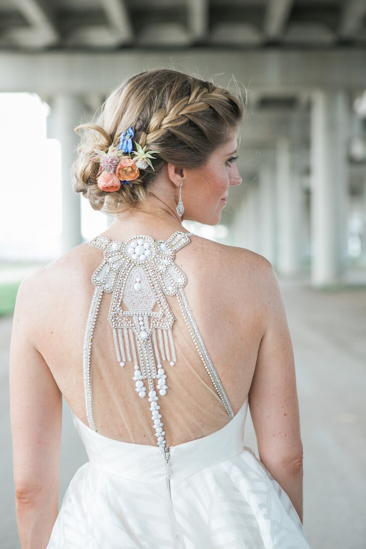Glam Embellished Illusion Back Wedding Dress