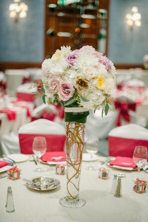 Tall Rose Reception Centerpiece