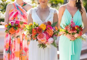Colorful Dahlia, Garden Rose and Fern Bouquets