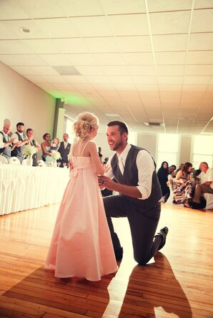 Groom and Pink Flower Girl Father-Daughter Dance at Monclova Reception