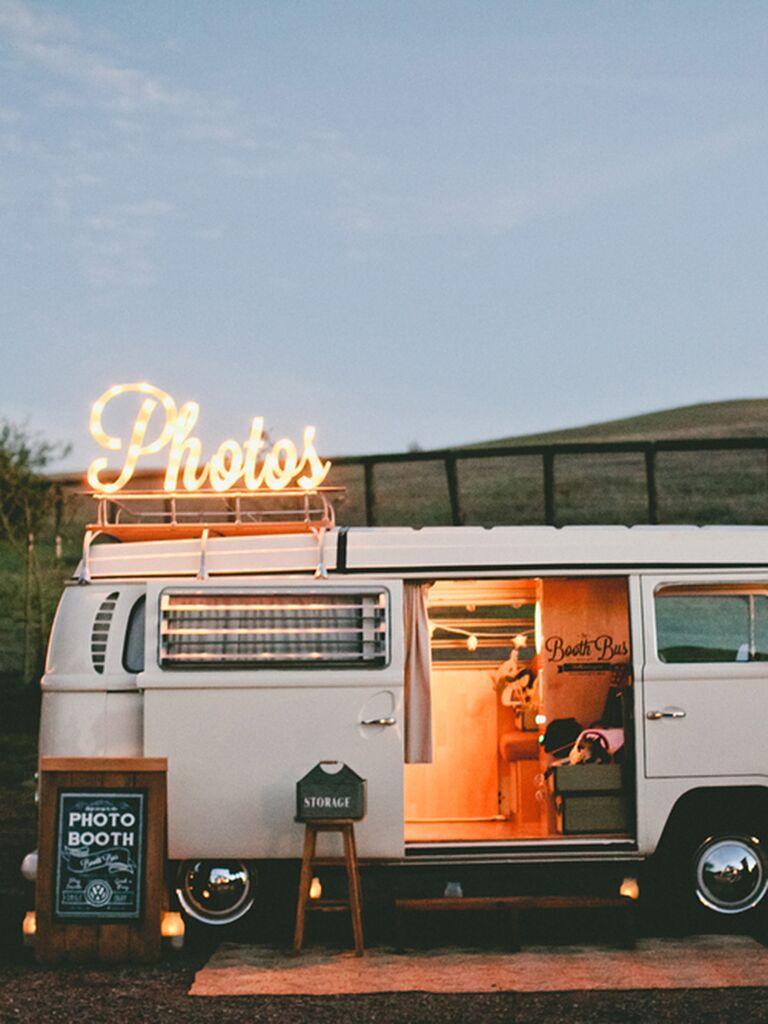 Fun photo booth van idea for a wedding reception