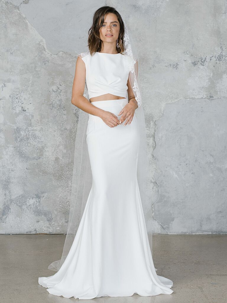 Rime Arodaky two-piece wedding dress with fit-and-flare skirt