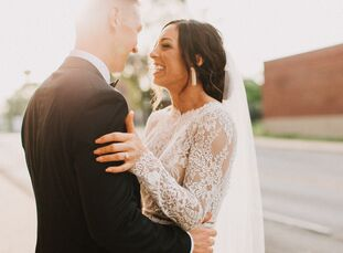 Vintage treasures, hand-tied florals and a one-of-a-kind venue lent Aubree Dipman and Nick Kirkes's spring wedding in Indianapolis an industrial-boho