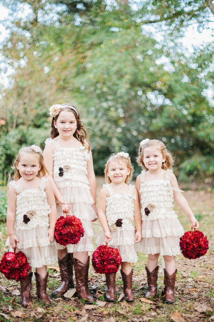 efad3170cd448 Rustic Champagne Flower Girl Dresses and Cowboy Boots