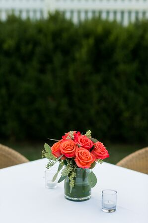 Simple Coral Rose Centerpiece With Seeded Eucalyptus