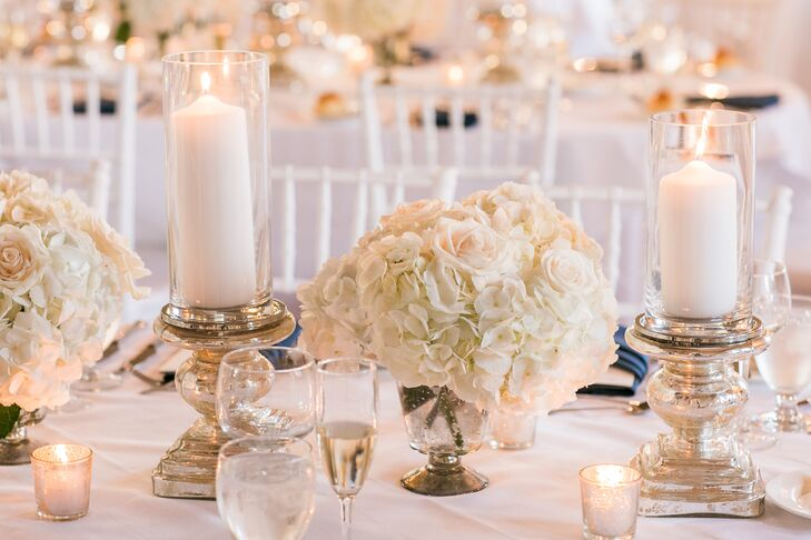 Classic White Hydrangea Centerpiece in Mercury-Glass Vessel