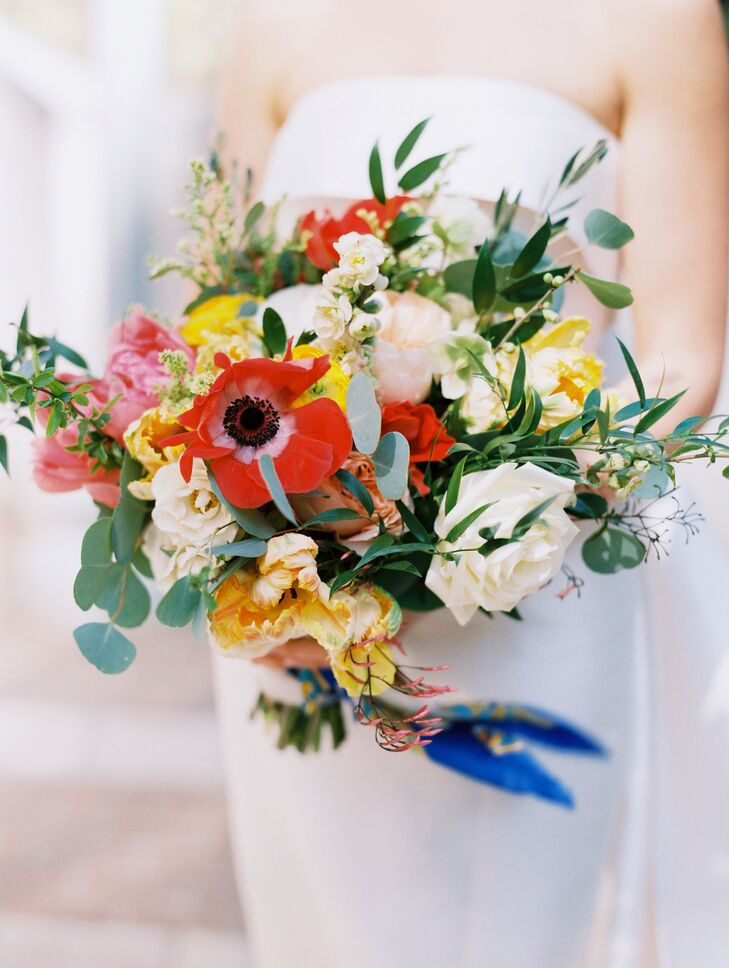 Colorful Bouquet with Anemone, Peonies, Hyacinth and Greenery