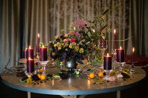 Burgundy Candles and Vintage Vase with Wildflowers