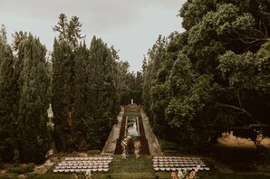 Ceremony Setup at Villa del Sol d'Oro in Sierra Madre, California