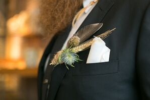 DIY Wheat, Feather Boutonniere