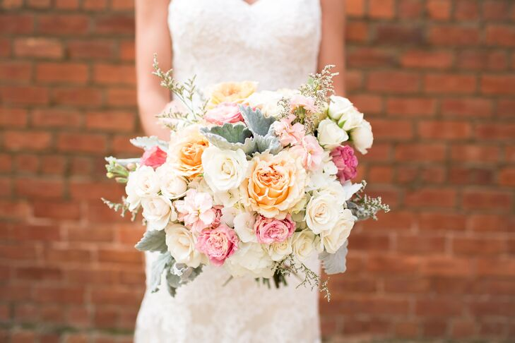 The bride set the tone for her mint and peach color palette with her soft garden rose and lamb's ear bouquet.