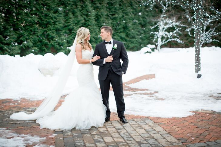 College sweethearts Megan Boyle (26 and a teacher) and William Winters (26 and an ADP sales executive) had a glamorous wedding at the Estate at Floren