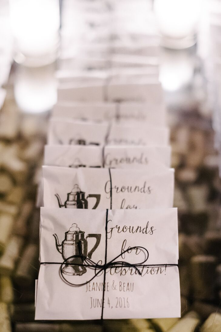 Each guest left with a twine-tied bag of one of the couple's favorite coffees.