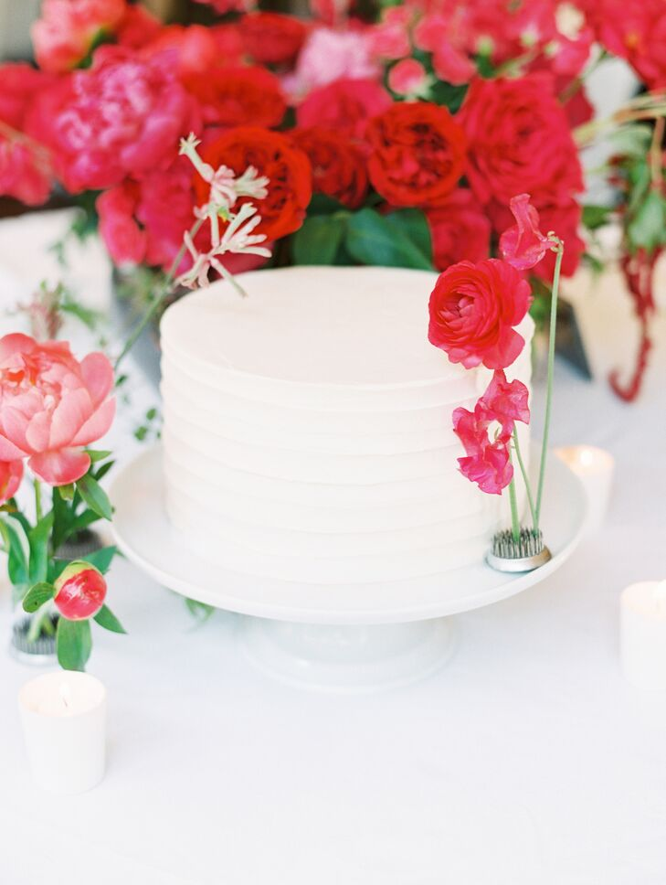 Simple Combed Butter Cream Cake on White Cake Stand