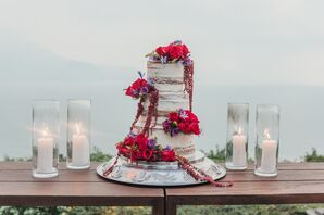 Rustic Naked Cake with Colorful Cake Flowers