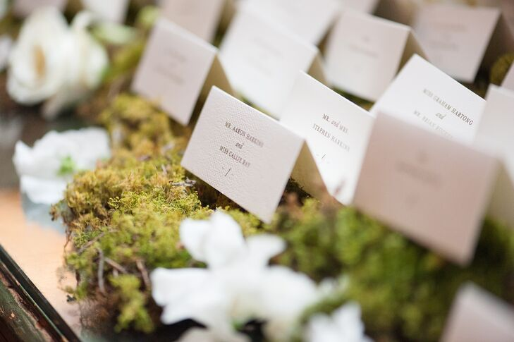 Boukates displayed the escort cards on a beautiful armoire topped with moss and flowers, which really brought the outside in to the rustic reception space at Old Edwards Inn and Spa in Highlands, North Carolina.
