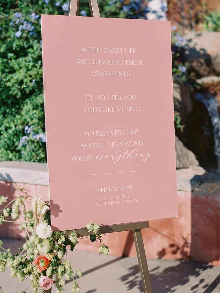 Pink Welcome Sign for Wedding at Cordiano Winery in Escondido, California