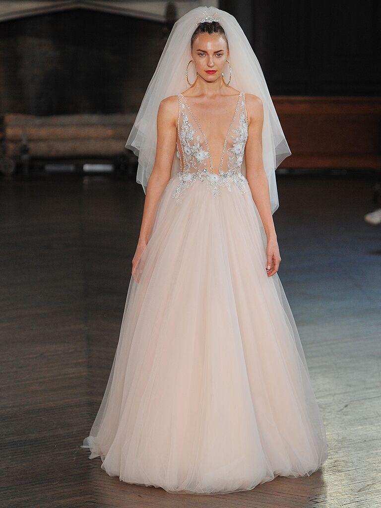 Blush pink wedding gown Berta Bridal