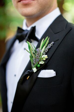 Lavender Boutonniere and Formal Black Tuxedo