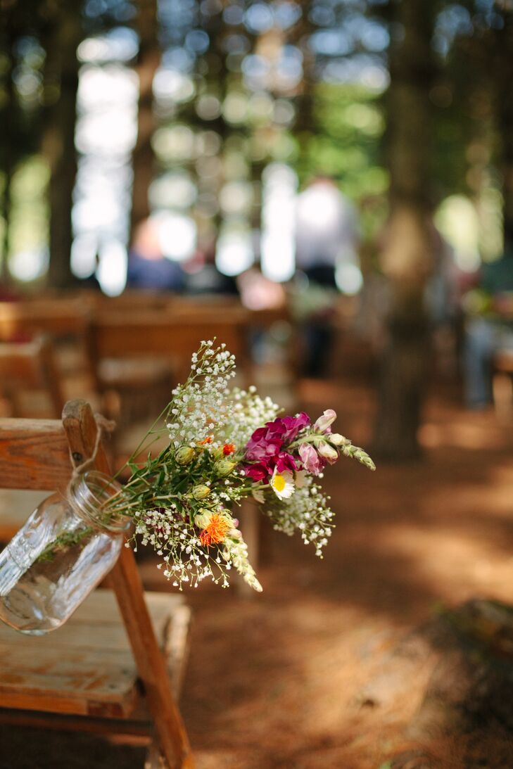 Simple Wildflower Rustic Ceremony Aisle Decor
