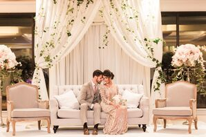 Romantic Ivy and Sheer White Panel Lounge Backdrop