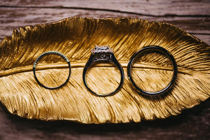 Rings Displayed on Vintage Gold Feather Plate