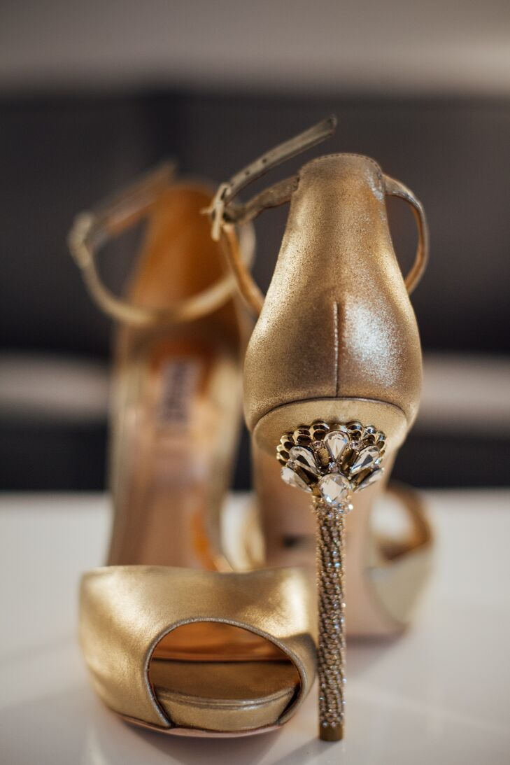 Brittani's gold heels were reminiscent of an art deco stained glass design.