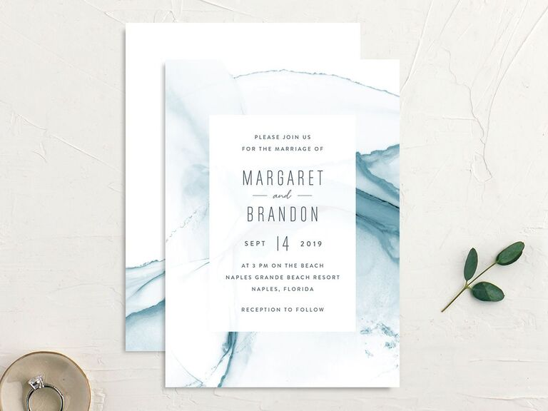 Abstract blue summer wedding invite