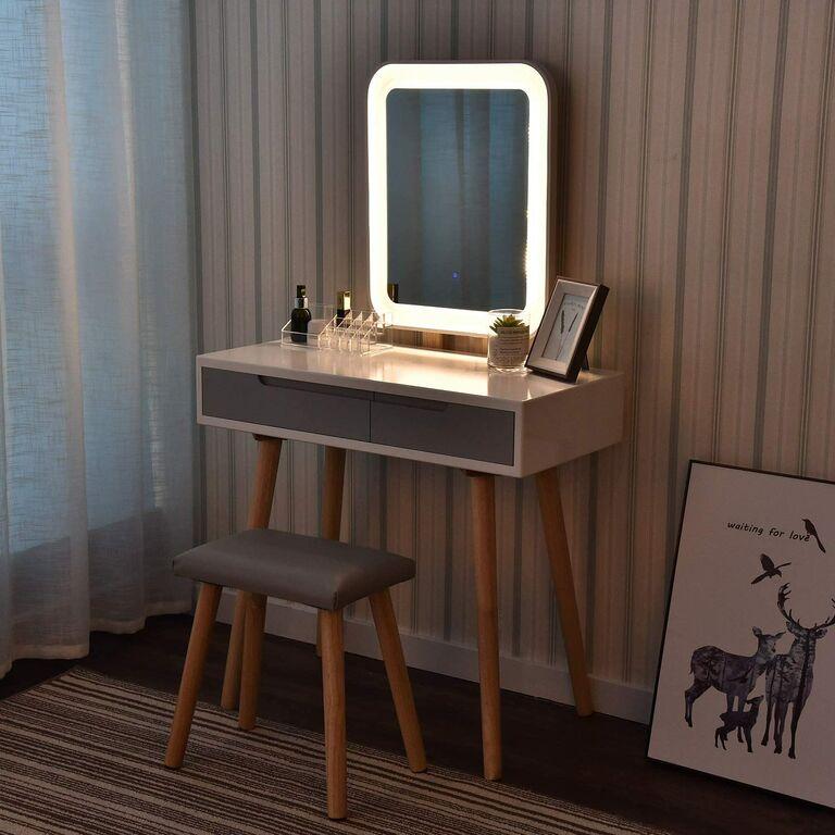 vanity desk with mirror