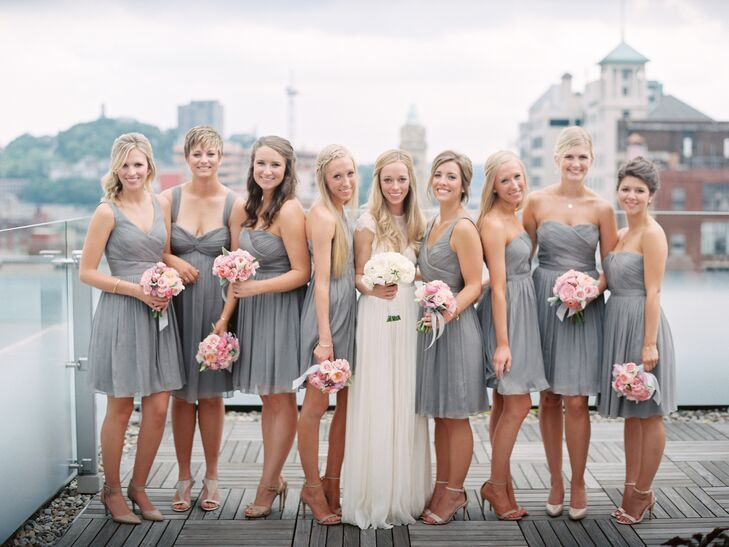 94ad023b1 Ivory and Light Gray Bridal Party Shot