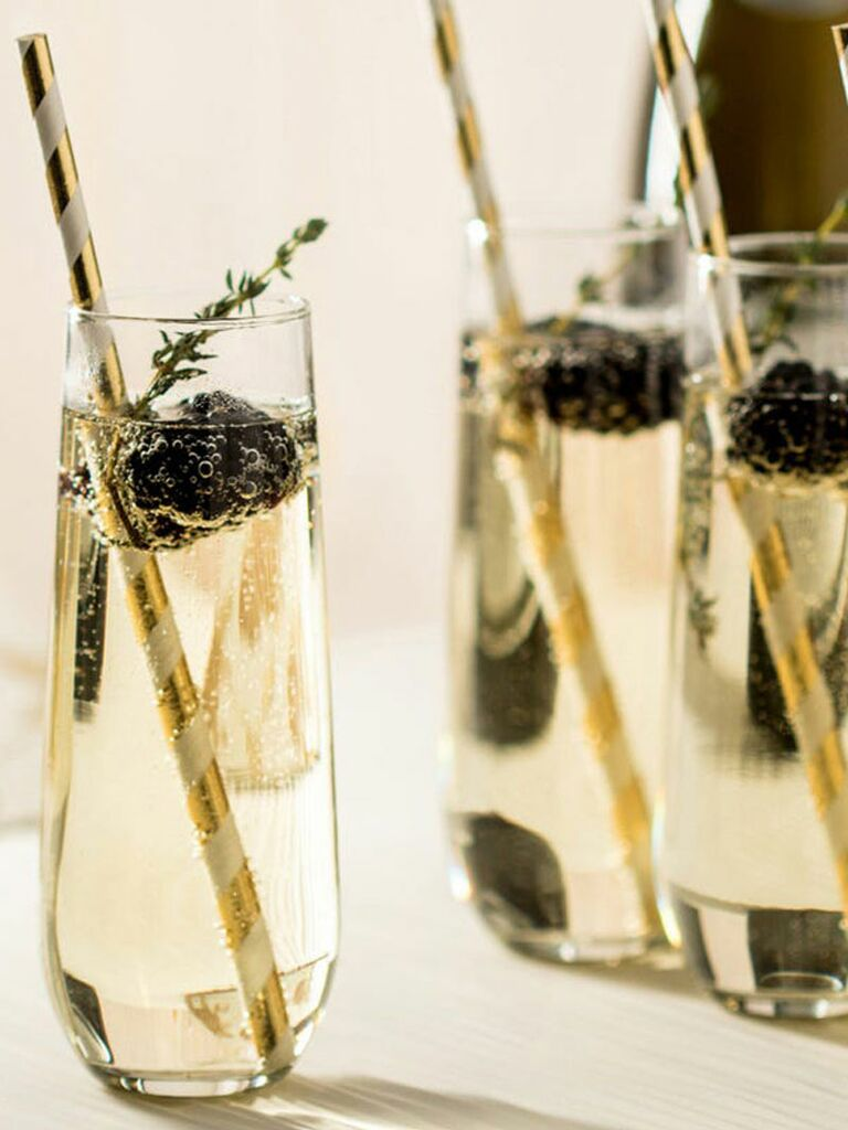 Set of 12 stemless champagne flutes