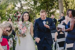Elegant Bride and Groom Recessional with Tossed Lavender
