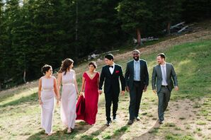 Wedding Party in Classic Looks on Mountain
