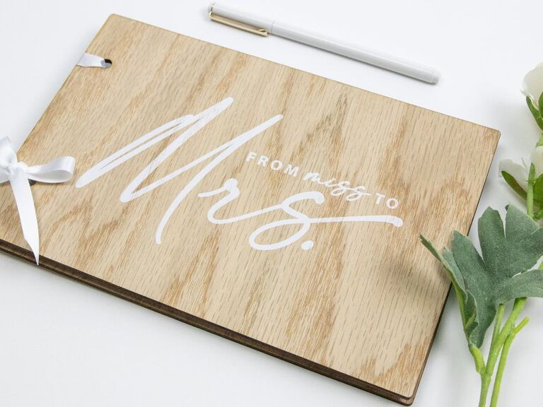 Wooden cover wedding shower Miss to Mrs. guest book
