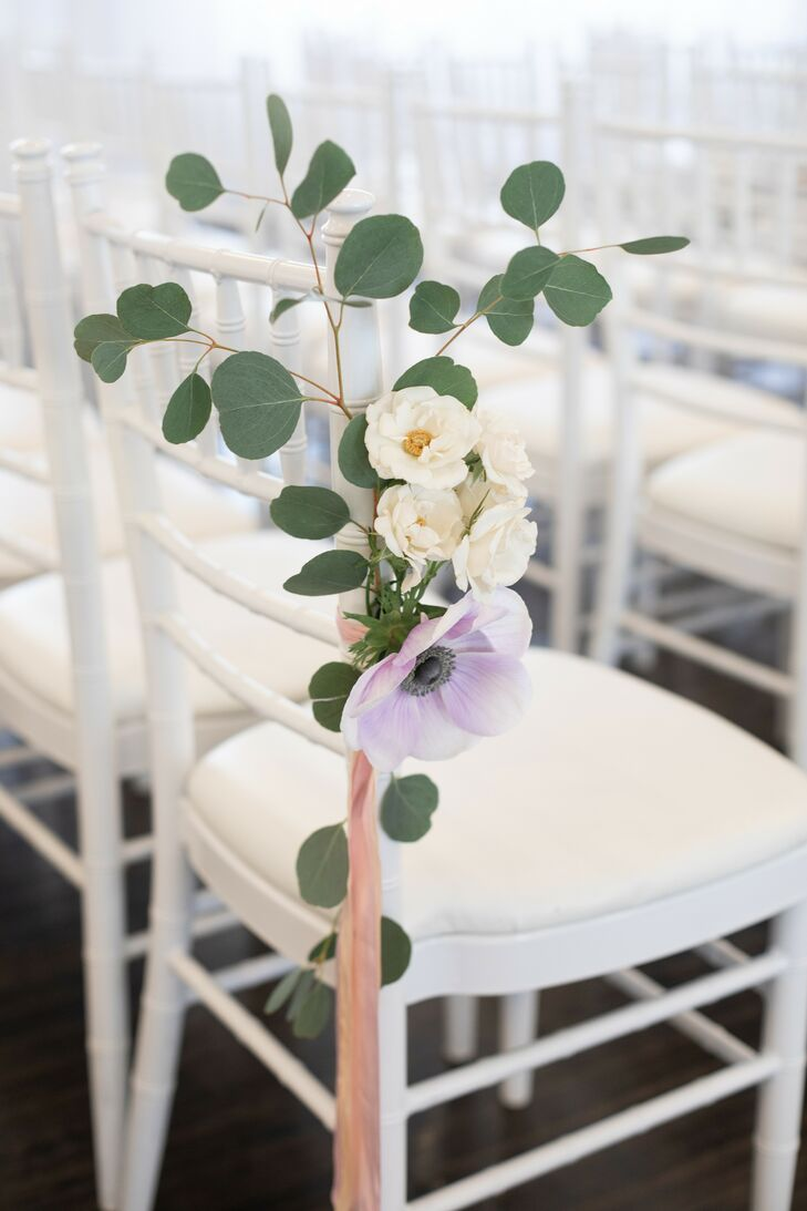 Aisle Markers with Sand-Dollar Eucalyptus and Anemones