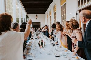 Reception Toast at Elegant Long Dining Table
