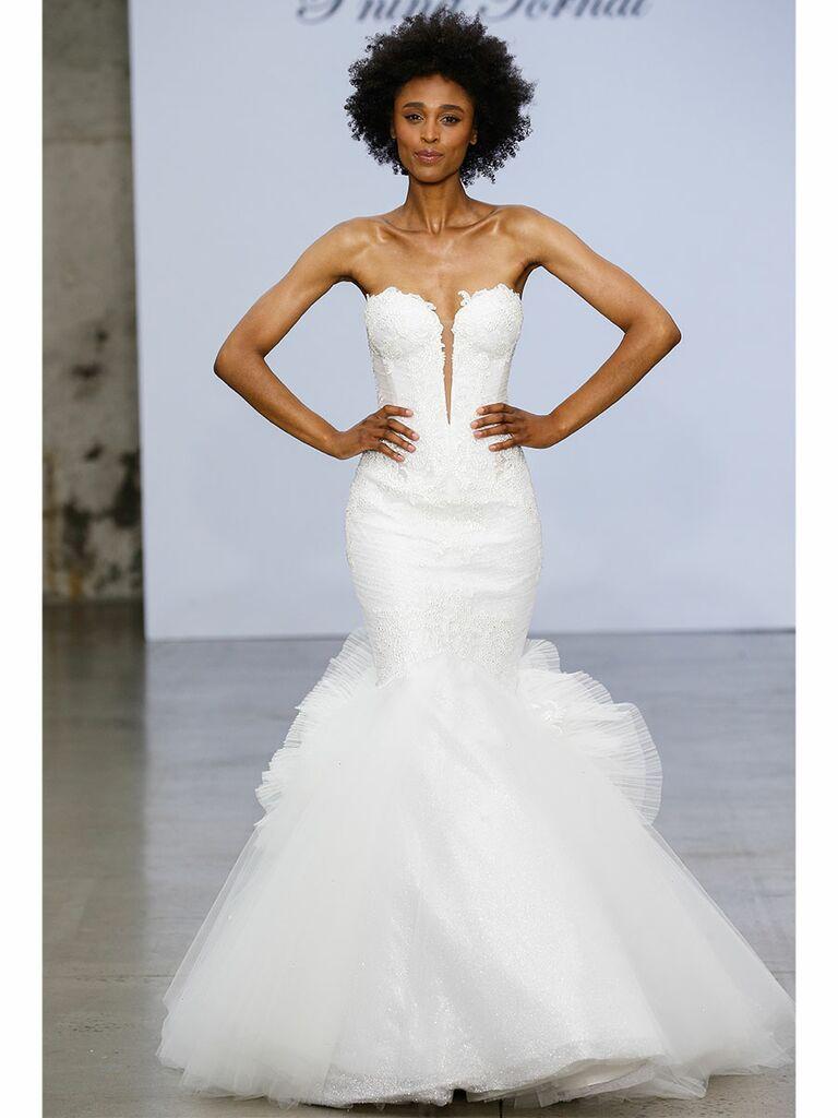 Pnina Tournai wedding dress tulle mermaid plunge front