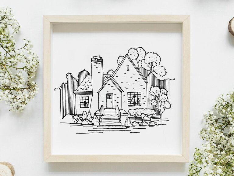 custom line drawing of home