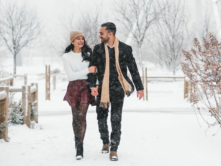 outdoor snowy engagement photo