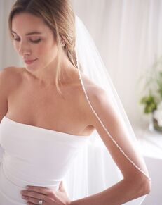 Dareth Colburn 1 Layer Kylie Crystal & Pearl Beaded Veil (VB-5094) Ivory Veil