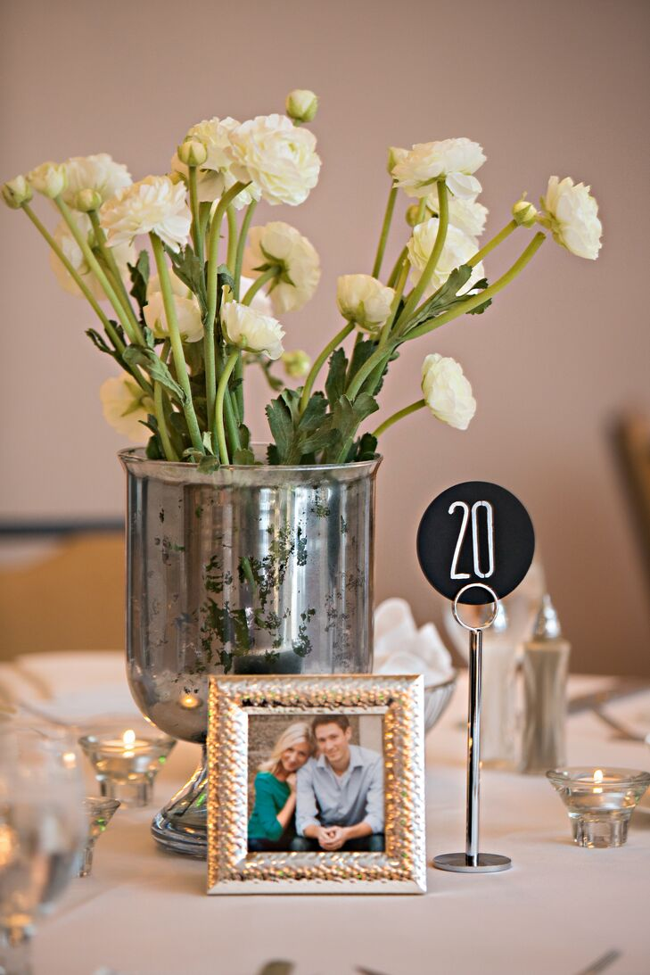Simple Table Numbers And Faux Flower Centerpieces