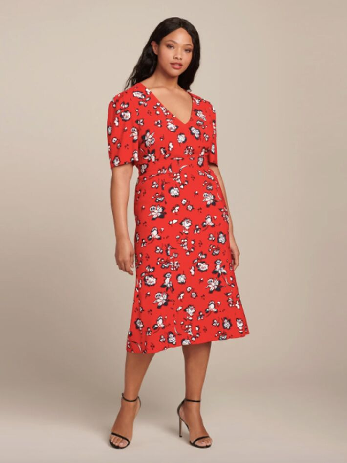 Red plus size floral midi dress