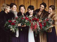 winter wedding bridesmaid bouquets
