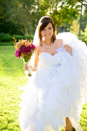 Strapless Tulle Wedding Gown and Wildflower Bouquet
