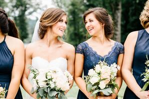 Navy Lace Bridesmaid Dress With Cap Sleeves