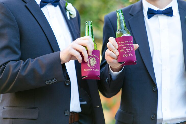 In addition to cake, candy, s'mores and homemade Chex Mix, Lauren and Andy gave out these cute personalized koozies. Each one had a different color and design with just the couple's name and wedding date as a constant.