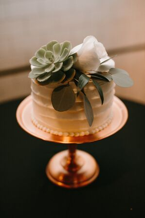 Round Single Tier Cake with Succulent
