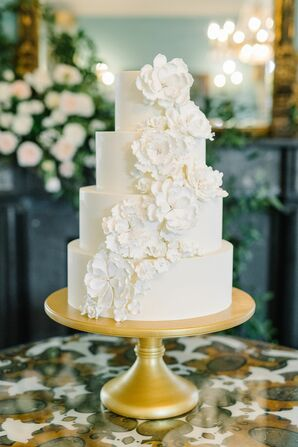 All-White Four-Tier Wedding Cake at The William Aiken House in Charleston, South Carolina