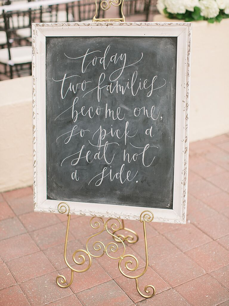 Calligraphed chalkboard wedding sign for ceremony seating