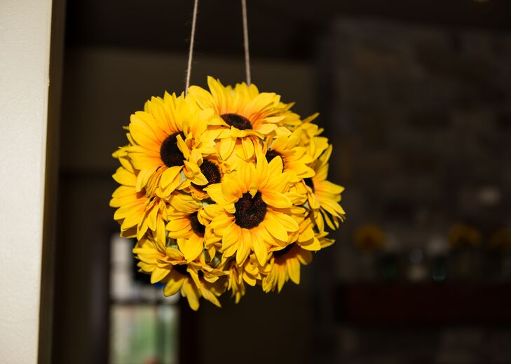 Sunflower Pomander Reception Decor
